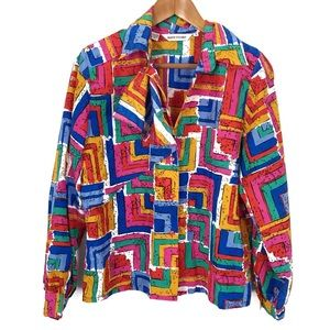 Vintage 80s 90s Colorful Geometric Top